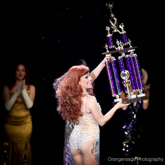 2nd Runner Up Trixie Little receives her trophy... ©OrangeRoads Photography