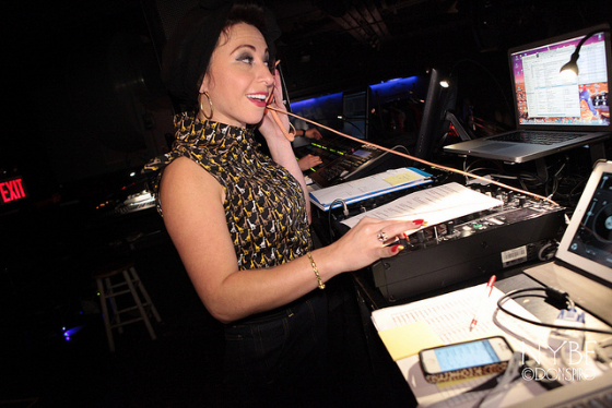 Angie Pontani behind the tech desk at the NYBF Thursday Night Teaser Party.    ©Don Spiro