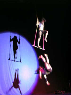 A Wau Wau sister falls from her trapeze, bounces straight back up and finishes the number!  ©Jo Weldon