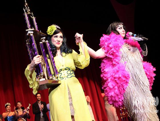 Miss Astrid announces Indigo Blue as the Reigning Queen of Burlesque, 2011. (©Don Spiro)