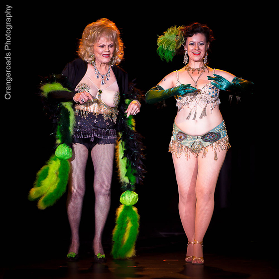 Penny Starr Jr. and Penny Starr Sr. perform their duet in the Titans of Tease 55th Annual Reunion Showcase on Friday night at the Burlesque Hall of Fame Weekend, 2012. ©OrangeRoads Photography