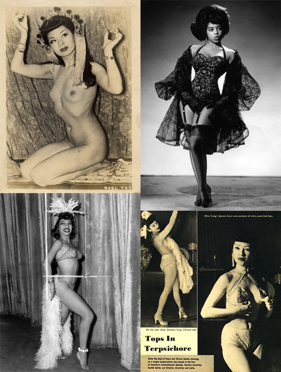 Clockwise, from top left: Noel Toy; Miss Topsy, 1958;  Barbara Yung in a 1951 feature; Marie Bryant.   (Race and Burlesque: The curious case of the performer of colour.)