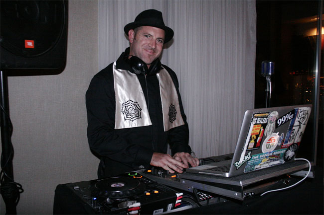 DJ Bryce providing the tunes at the Sublime Boudoir Soirée.  ©Don Spiro  (Burlesque Hall of Fame Weekend 2013)