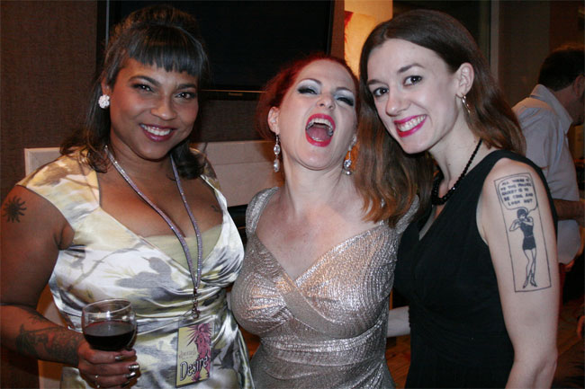 Desiré d'Amour, Jo 'Boobs' Weldon and Polly Wood at the Sublime Boudoir Soirée.  ©Don Spiro  (Burlesque Hall of Fame Weekend 2013)