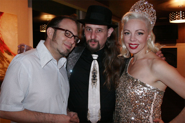 Mig Ponce, Jonny Porkpie and Reigning Queen of Burlesque 2012 Imogen Kelly at the Sublime Boudoir Soirée.  ©Don Spiro  (Burlesque Hall of Fame Weekend 2013)