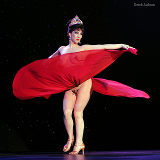 Miss Indigo Blue performs her spectacular step-down number at The Burlesque Hall of Fame Weekend 2012.  ©Derek Jackson