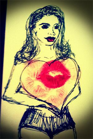 Sweetpea's self portrait, sealed with a kiss.  ©Sweetpea