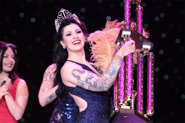 LouLou D'vil receives her crown and trophy as Miss Exotic World, Reigning Queen of Burlesque 2013.  ©Don Spiro  (Burlesque Hall of Fame Weekend 2013)