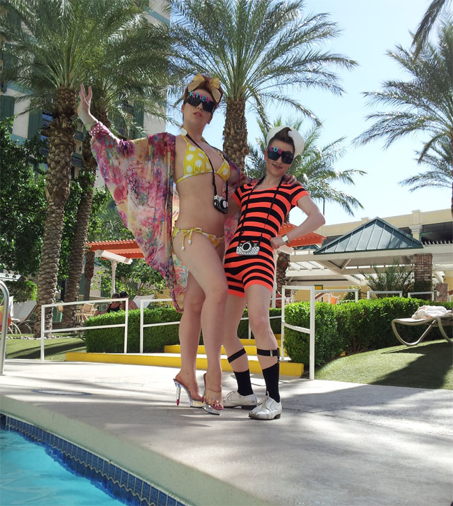 Kitten La Rue and Lou Henry Hoover at the Pool!  ©Minnie Tonka  (Burlesque Hall of Fame Weekend 2013)