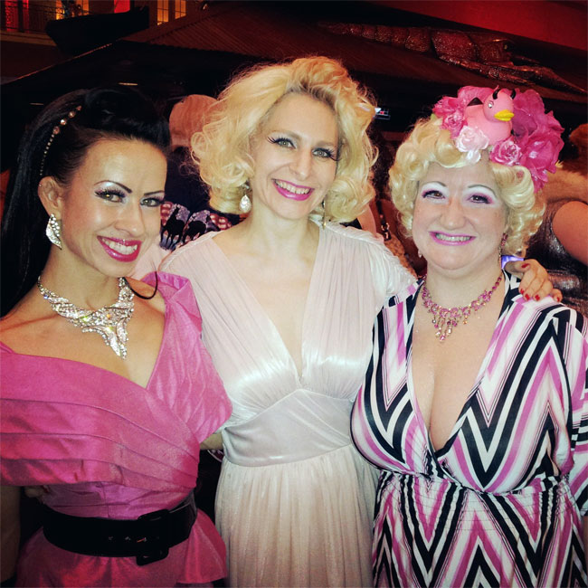 Reigning Queen competitors Sweetpea and Minnie, with Saturday night host Blanche DeBris.  ©Minnie Tonka  (Burlesque Hall of Fame Weekend 2013)