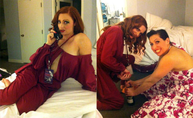 Left: Me calling reception for a corkscrew.   Right: Myself and Jade attempting to get the cork out!  ©Strawberry Siren