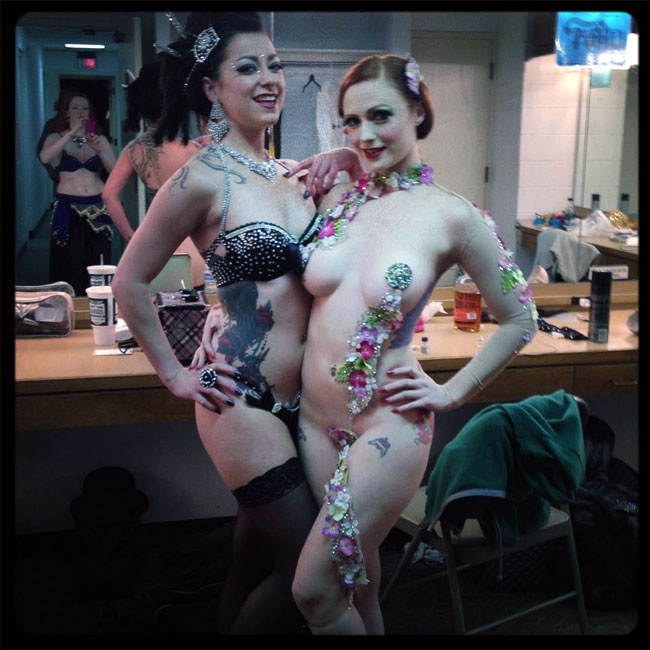 Pre-show with Charlotte Treuse.  ©Strawberry Siren  (Kansas City Burlesque Festival 2013)