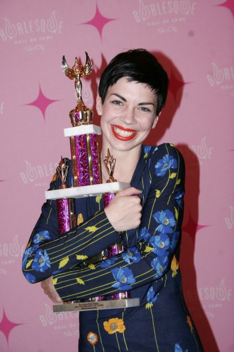 Laurie Hagen with her 'Most Innovative' trophy at The Burlesque Hall of Fame Weekend 2013. ©Don Spiro