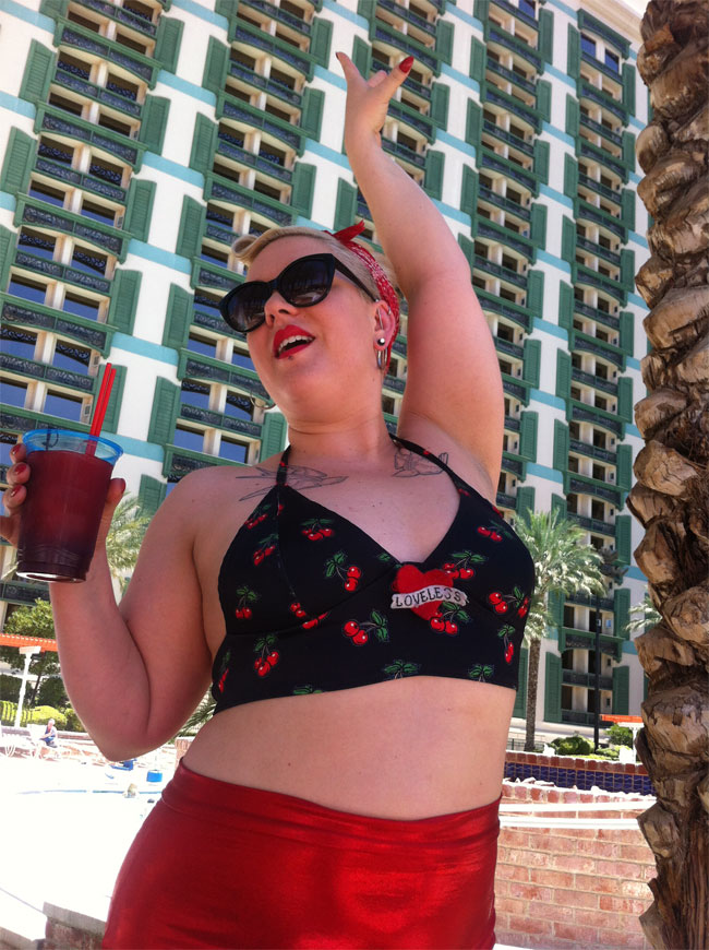 Villainy Loveless at the pool.  ©Lola Frost  (Burlesque Hall of Fame Weekend 2013)