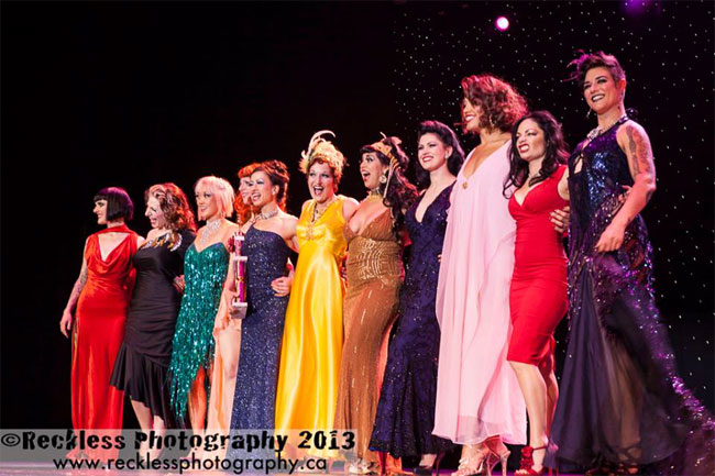 The Miss Exotic World, Reigning Queen of Burlesque competitors line up on stage.  ©Reckless Photography   (Burlesque Hall of Fame Weekend 2013)
