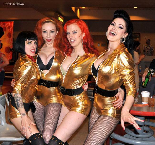 Cleo Viper, Ms Redd, Bettina May and LouLou D'vil getting ready to bowl at the Burlesque Hall of Fame Weekend 2013.  ©Derek Jackson