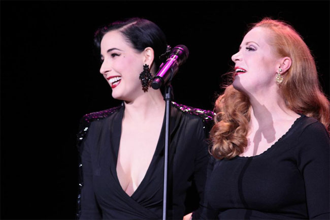 Dita Von Teese presents Catherine D'Lish with her Sassy Lassy award at the Burlesque Hall of Fame Weekend 2013.  ©Don Spiro