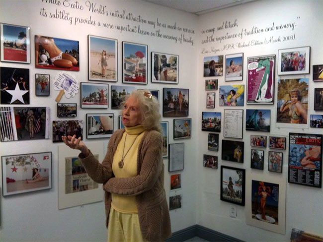 Dixie Evans giving a tour of the Burlesque Hall of Fame Museum in downtown Las Vegas.  ©Burlesque Hall of Fame