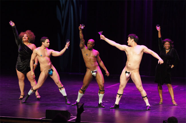 The Stage Door Johnnies, Bazuka Joe, Ray Gunn and Jett Adore, performing in their Sunday Night Finale at the Burlesque Hall of Fame Weekend 2013. ©Deirdre Timmons  (Stage Door Johnnies Post-BHoF Recap)