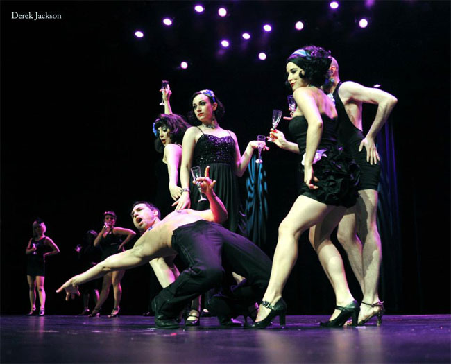 Jett Adore performs in the Sunday Night Finale alongside fellow performers, including Michelle L'amour and Lily Verlaine. ©Derek Jackson (Stage Door Johnnies Post-BHoF Recap)