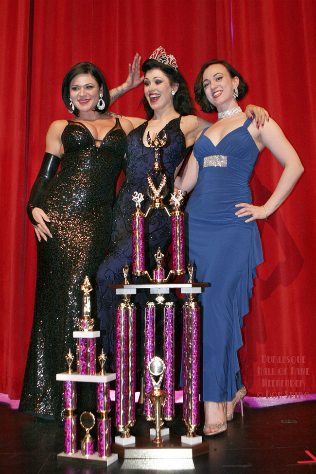 Three Miss Exotic Worlds:  Roxi DLite and Michelle L'amour with the new Reigning Queen of Burlesque, LouLou D'vil.  ©Don Spiro