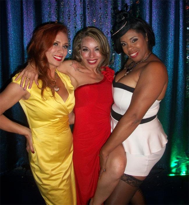 Ophelia Flame, Miss Satine and Donna Denise at the Colorado Burlesque Festival 2013.  ©Goldie Candela