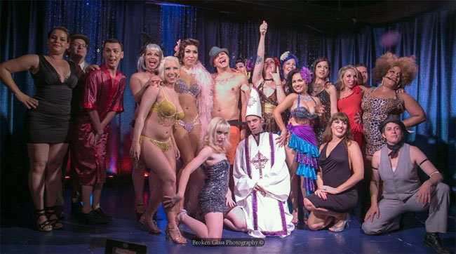 Cast of Friday's Naughty Night Cap at the Colorado Burlesque Festival 2013: Foxy Tann, Cherry Glitterbomb, Dahlia Dulce, Fanny Fitztightlee, The Gentleman King, Goldie Candela, Lola Begonia, Mena Domina, Miss Satine, Mr Valdez , Peggy Tulane, Ruby Champagne, Tootsie Spangles, Violet Vendetta. ©Broken Glass Photography