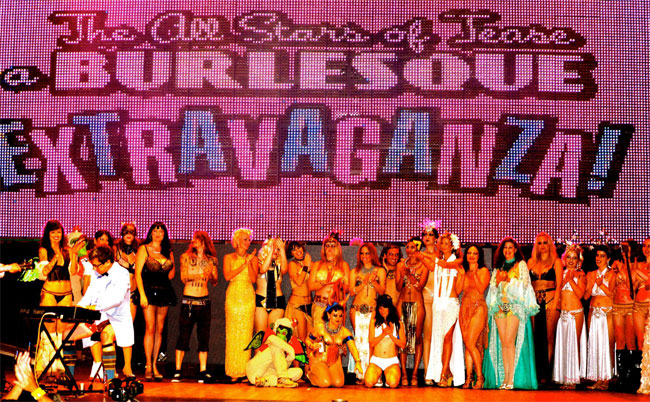 The cast of The All Stars of Tease Burlesque Extravaganza for Dixie Evans Week.  ©(PCP)