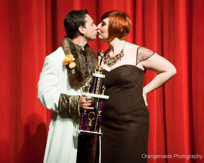 Frenchie Kiss and Jett Adore with their trophy for 'Best Duo' at The Burlesque Hall of Fame 2012.  ©Orangeroads Photography