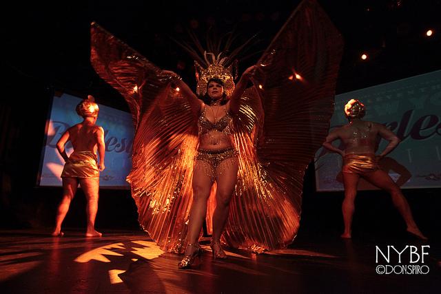 Tiny D, Teddy Turnaround and Brooklyn Irons at the New York Burlesque Festival Thursday Night Teaser Party. ©Don Spiro