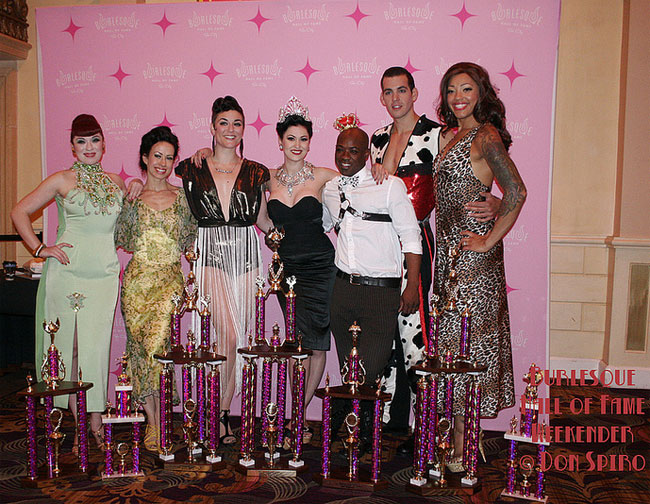 The Burlesque Hall of Fame 2013 winners pose with their trophies.  ©Don Spiro