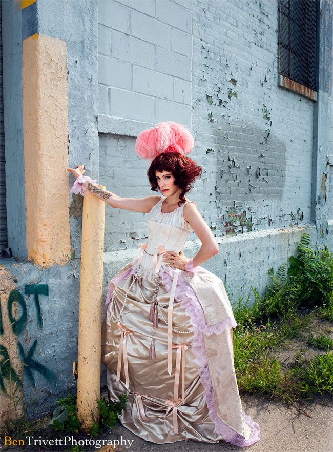 Dollar Store sewing challenge #1. Ingredients: Curtains, tablecloths, lace runners, hula hoops, bedsheets (bloomers), craft ribbon, party-favour beads, curtain tie-back tassels. ©Ben Trivett Photography