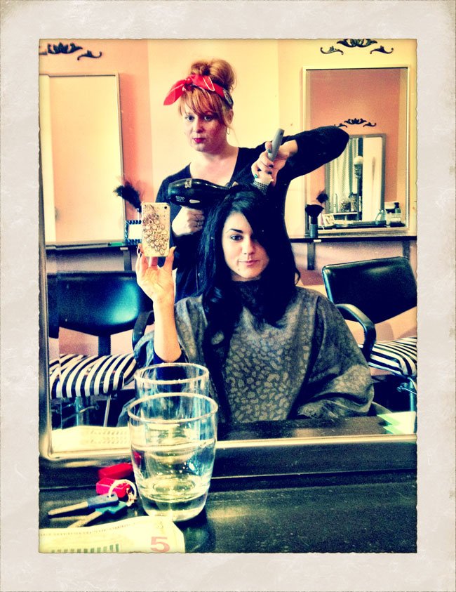 Melody Sweets having her hair done by Margie at the Tease Salon, NYC.  ©Melody Sweets