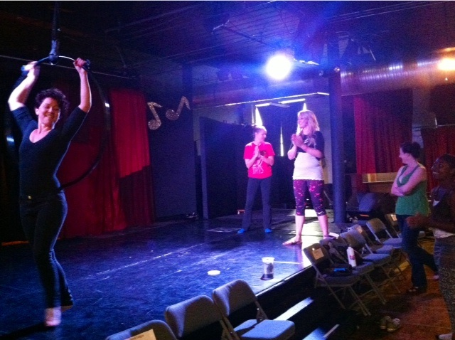 Sadie Hawkins' workshop, 'Intro to Aerial Hoop'.   ©Ruby Joule  (Alabama Burlesque Festival Diary)