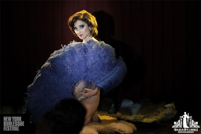 Indigo Blue at the New York Burlesque Festival 2013 Saturday Spectacular.  ©Angela McConnell