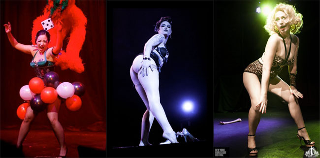 Moving on up: Kitty Bang Bang at No. 19 ( ©Soho Burlesque Club), Lola Frost at No. 13 (©Jess Desaulniers-Lea), and Minnie Tonka at No. 14 (©Angela McConnell).  (Burlesque TOP 50 Postmortem, by J.D. Oxblood)