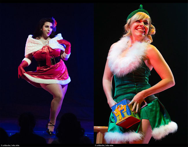 Sophia Hart (left) and Honey Halfpint (right).  ©Mike White (All I Want for Christmas: Michelle L'amour and the Chicago Starlets)