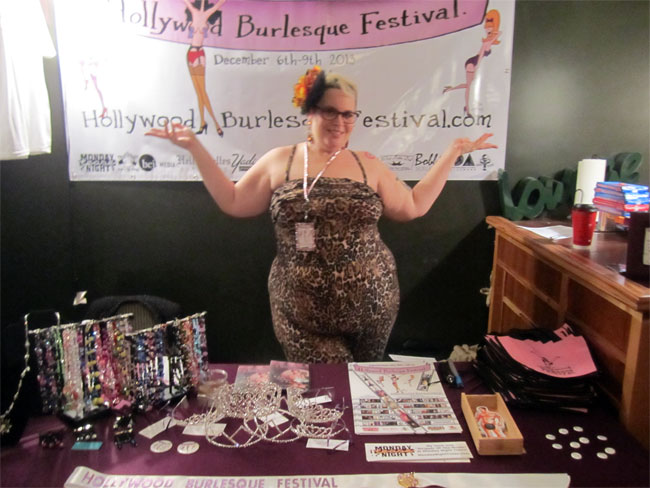 Holly Go Darkly working her merch booth at the Hollywood Burlesque Festival.  ©Jessabelle Thunder