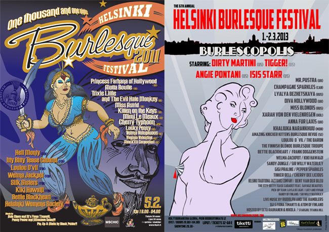 Helsinki Burlesque Festival posters from 2011 and 2013.