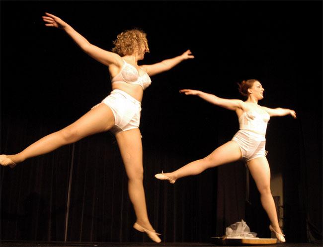 Schlep Sisters Minnie Tonka and Darlinda Just Darlinda performing their Hava Negilah act in Kosher ChiXXX, 2005.