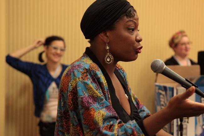 Perle Noire speaking at BurlyCon 2013.  ©Don Spiro