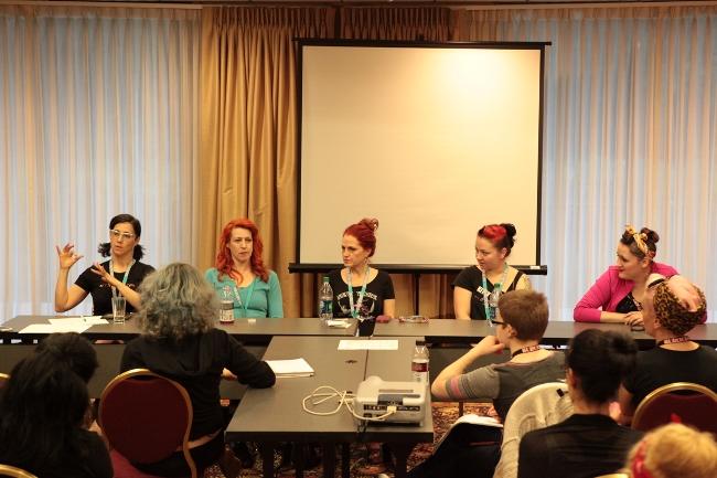A panel discussion at BurlyCon 2013.  ©Don Spiro
