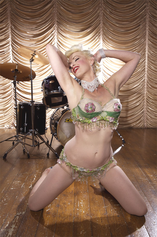Kitten De Ville (Miss Exotic World 2002) will perform at the Hebden Bridge Burlesque Festival 2014.   ©Neil Kendall