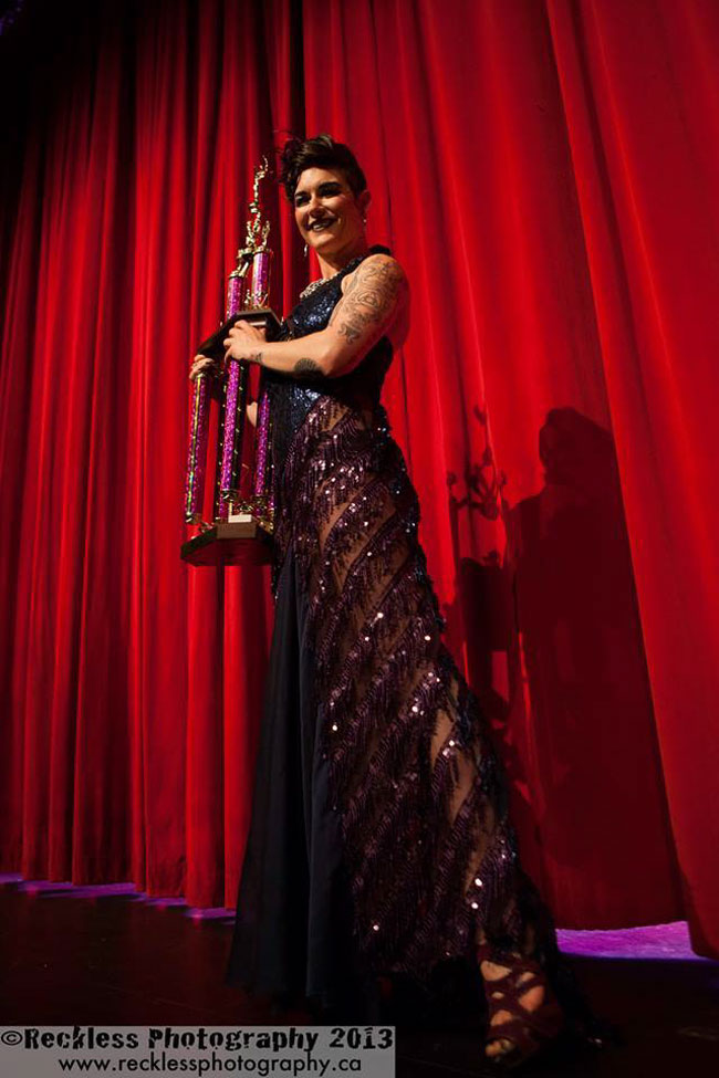 Lola Frost with her 2nd Runner Up trophy at the Burlesque Hall of Fame Weekend 2013.  ©Reckless Photography