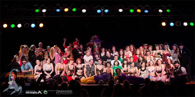 The Saturday night cast of the Vermont Burlesque Festival 2014.   ©Michael Z Rork, Zinfandel Photography
