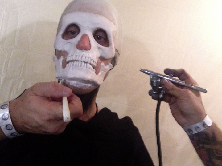 Mark Brown continues his transformation into Zombo the Clown at Theatre Bizarre 2013. ©Mark Brown