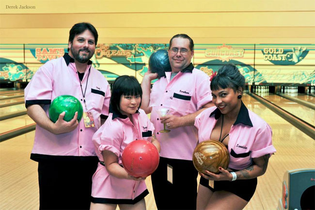 BHoF Executive Producer Joyce Tang with BHoF Executive Director Dustin Wax, Dustin M. Wax, Robert Best and Desiré d'Amour at the Barecats Bowling Tournament at the Burlesque Hall of Fame Weekend 2013.  ©Derek Jackson