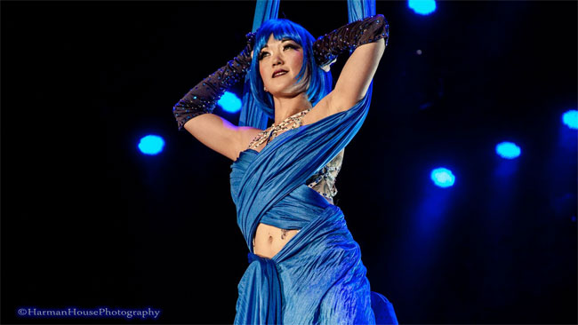 Reigning Queen of Burlesque 2014 Midnite Martini giving a stunning winning performance at the Burlesque Hall of Fame Weekend 2014 Tournament of Tease.  ©Chris Harman/Harman House Photography