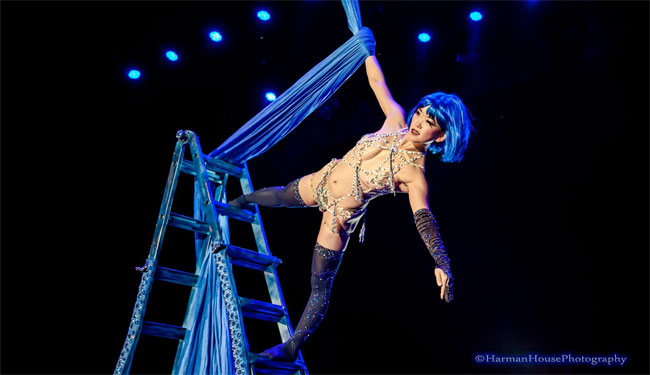 Miss Exotic World 2014 Midnite Martini giving a stunning winning performance at the Burlesque Hall of Fame Weekend 2014 Tournament of Tease. ©Chris Harman/Harman House Photography