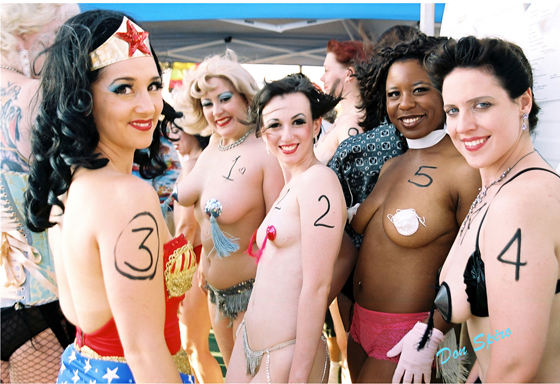 Miss Exotic World contestants at the 2004 pageant, including Dirty Martini (second left) who would take the 2004 title, Miss Indigo Blue (left) who won in 2011, and Michelle L'amour (centre) who won in 2005. ©Don Spiro